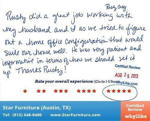 Star Furniture Review by Kelli M. in Pflugerville, TX
