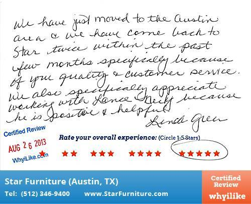 Star Furniture Review by Linda G. in Pflugerville, TX