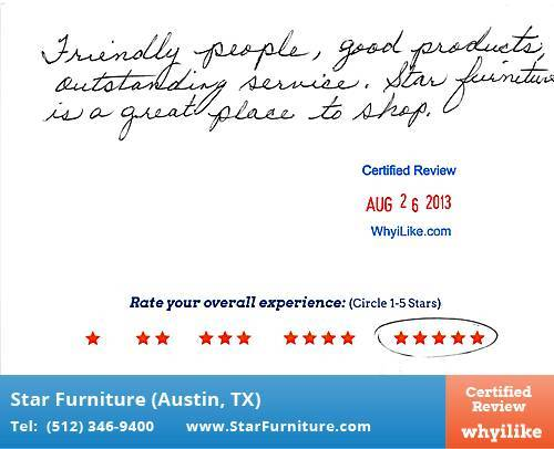 Star Furniture Review by Mary B. in Pflugerville, TX