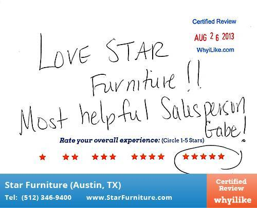 Star Furniture Review by Melissa A. in Pflugerville, TX