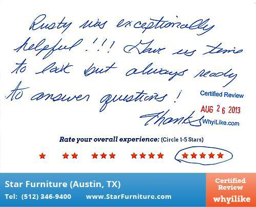 Star Furniture Review by Patty S. in Pflugerville, TX