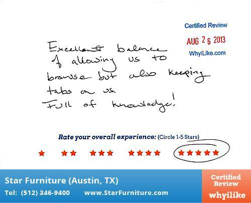 Star Furniture Review by Sheryl P. in Pflugerville, TX