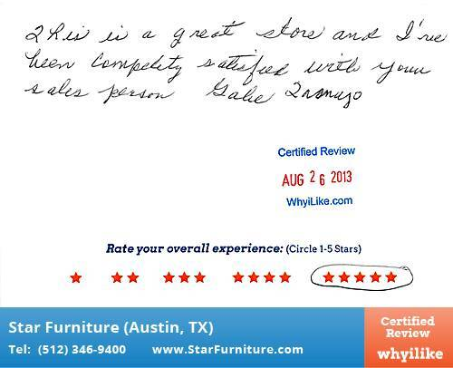 Star Furniture Review by Tony B. in Pflugerville, TX