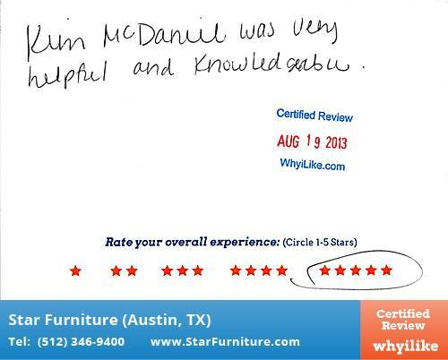 Star Furniture Review by Heather W. in Pflugerville, TX