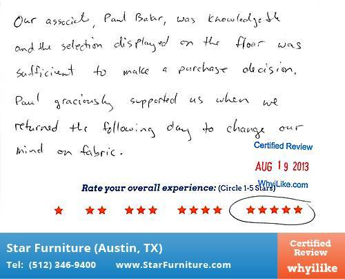 Star Furniture Review by Ian M. in Pflugerville, TX