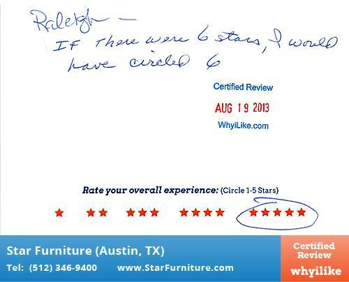 Star Furniture Review by Kenneth T. in Pflugerville, TX