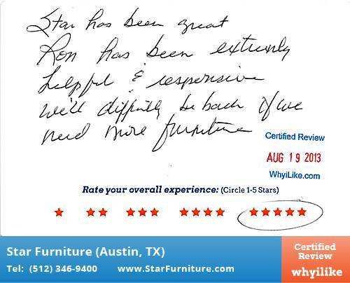 Star Furniture Review by Rene Y. in Pflugerville, TX