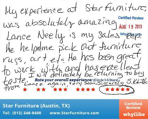Star Furniture Review by Suzanne K. in Pflugerville, TX