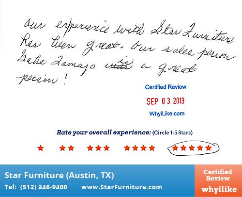 Star Furniture Review by Anton B. in Pflugerville, TX