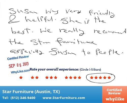 Star Furniture Review by Batoul B. in Pflugerville, TX