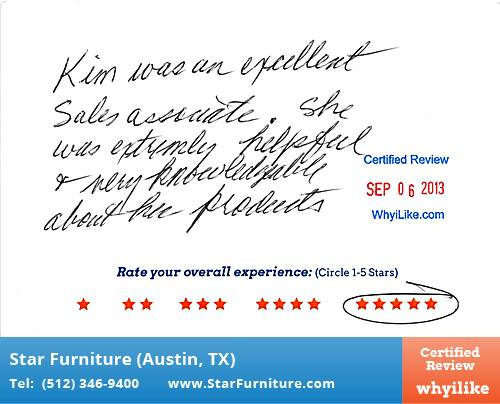 Star Furniture Review by Budge M. in Pflugerville, TX