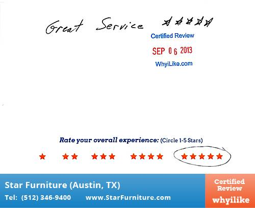 Star Furniture Review by Delfina G. in Pflugerville, TX