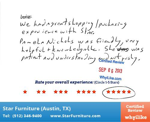 Star Furniture Review by Kevin D. in Pflugerville, TX