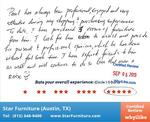 Star Furniture Review by Kim W. in Pflugerville, TX