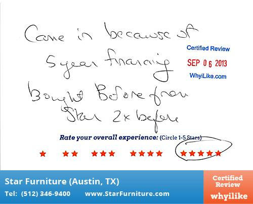 Star Furniture Review by Lauren L. in Pflugerville, TX