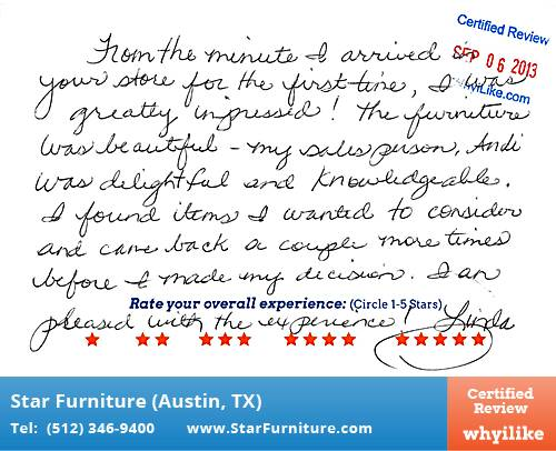 Star Furniture Review by Linda W. in Pflugerville, TX