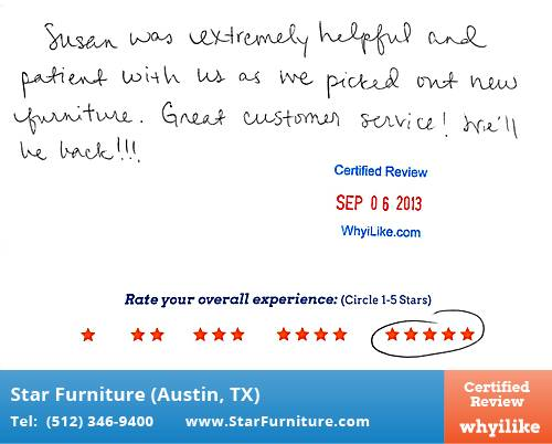 Star Furniture Review by Marisa P. in Pflugerville, TX