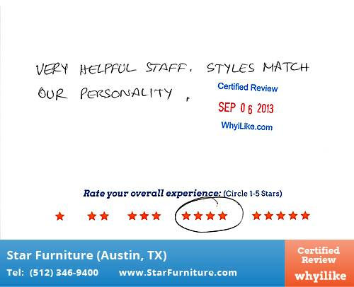 Star Furniture Review by Niloy N. in Pflugerville, TX