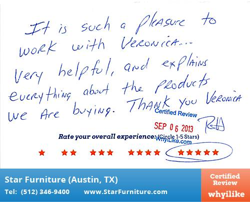 Star Furniture Review by Rudolph H. in Pflugerville, TX