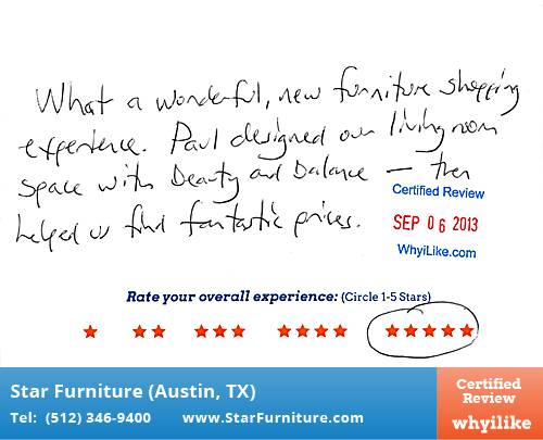 Star Furniture Review by Daron L. in Pflugerville, TX