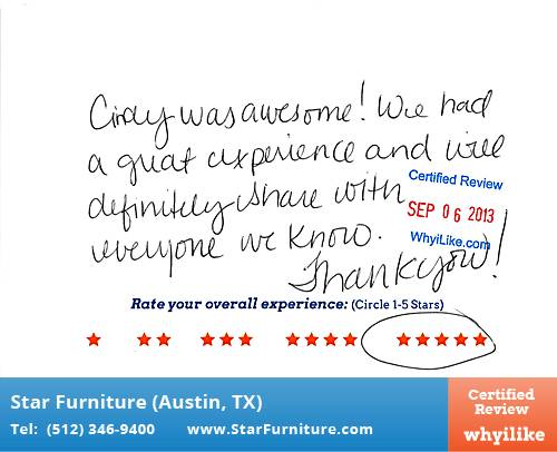 Star Furniture Review by Elisabeth O. in Pflugerville, TX