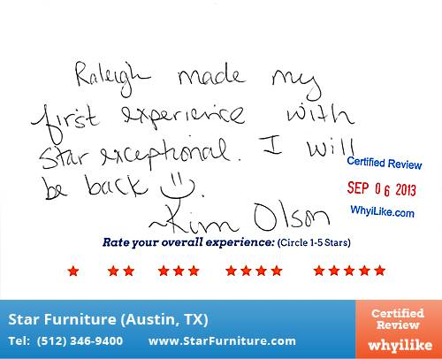Star Furniture Review by Kim O. in Pflugerville, TX