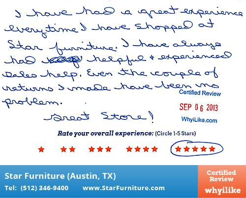 Star Furniture Review by Linda B. in Pflugerville, TX