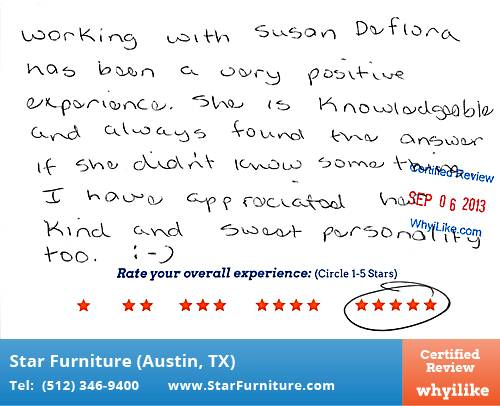 Star Furniture Review by Robin S. in Pflugerville, TX