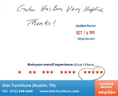Star Furniture Review by Bill B. in Pflugerville, TX
