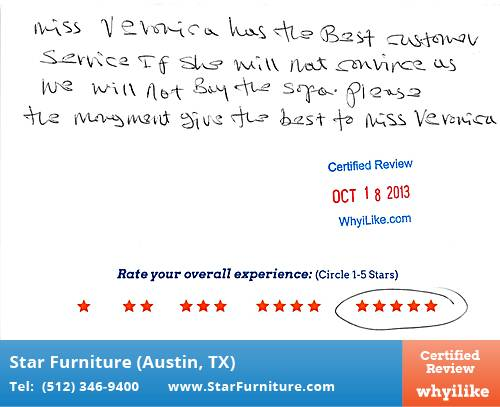 Star Furniture Review by Daniel T. in Pflugerville, TX