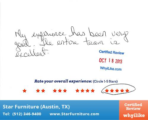 Star Furniture Review by Dina G. in Pflugerville, TX