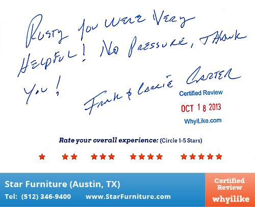 Star Furniture Review By Frank C. In Pflugerville, TX