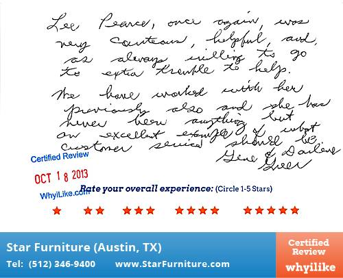 Star Furniture Review by Gene G. in Pflugerville, TX