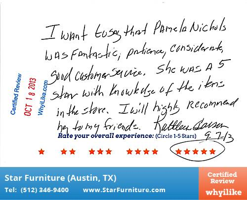 Star Furniture Review by Glenn C. in Pflugerville, TX