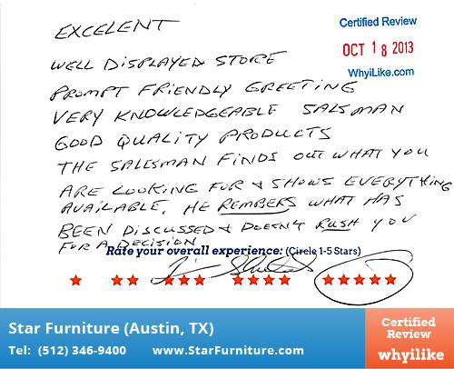 Star Furniture Review by Jim S. in Pflugerville, TX