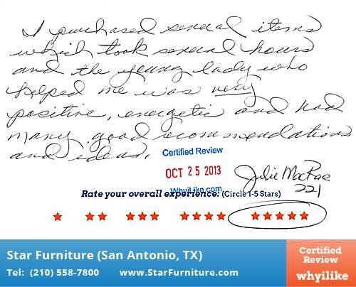 Star Furniture Review By Linda B. In San Antonio, TX