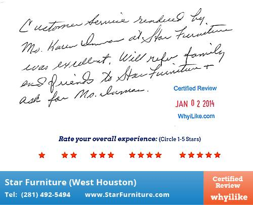 Star Furniture   West Houston Review By Shirley H. In Houston, TX On January