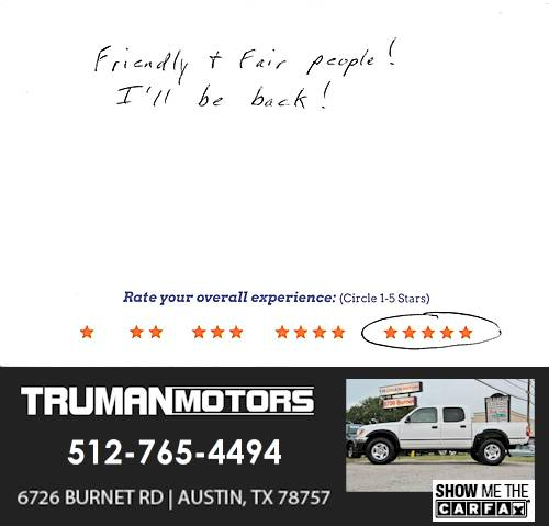 Truman Motors review by Vernon C. in Austin, TX on February 23, 2016