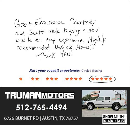 Truman Motors review by Scottie M. in Austin, TX on February 23, 2016
