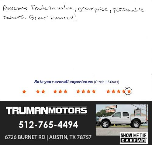 Truman Motors review by Sean H. in Austin, TX on February 23, 2016