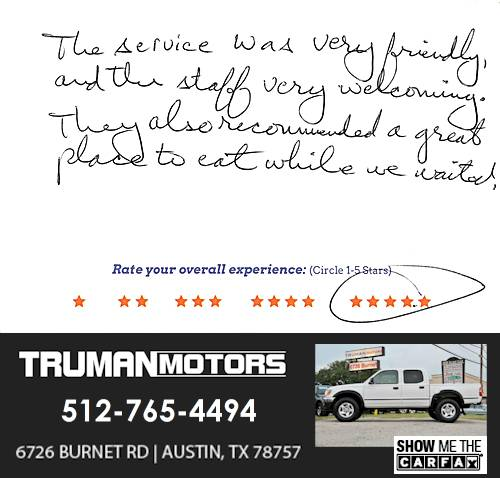 Truman Motors review by Daniel P. in Austin, TX on February 23, 2016