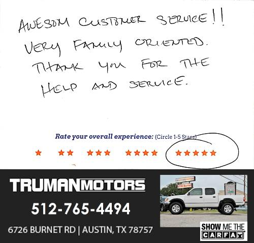 Truman Motors review by Billy L. in Austin, TX on June 13, 2016