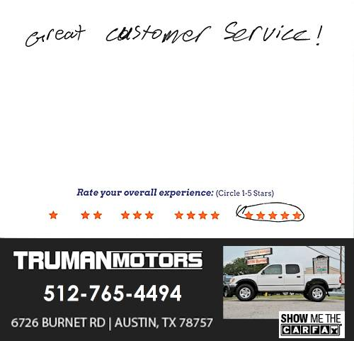 Truman Motors review by John W. in Austin, TX on June 13, 2016