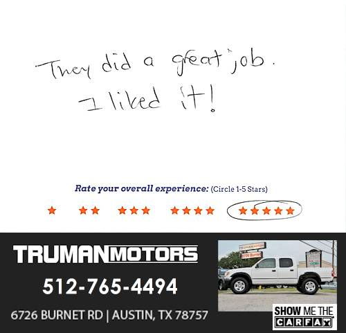 Truman Motors review by Bill A. in Austin, TX on June 13, 2016
