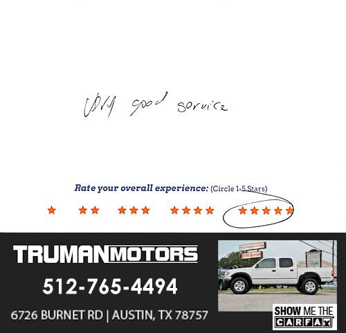 Truman Motors review by James H. in Austin, TX on June 13, 2016