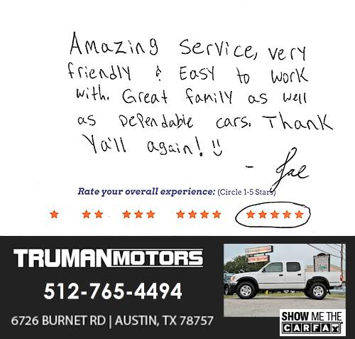 Truman Motors review by Joe P. in Austin, TX on June 13, 2016