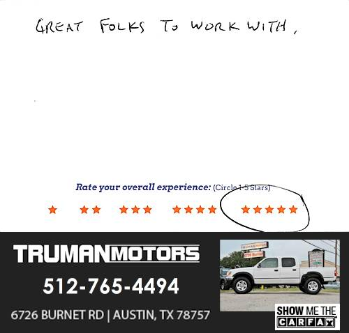 Truman Motors review by Nolan H. in Austin, TX on September 10, 2016