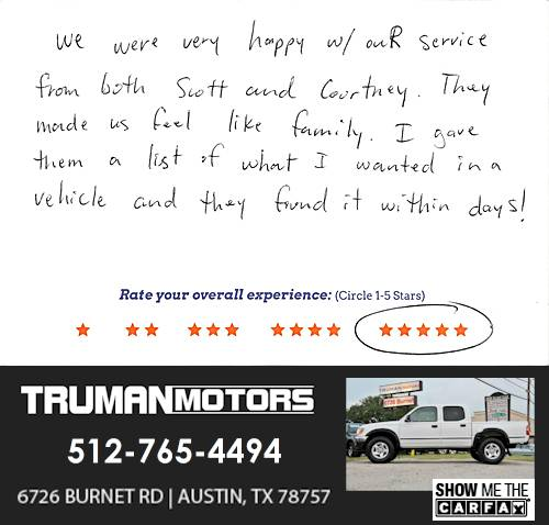 Truman Motors review by Kristin M. in Austin, TX on September 10, 2016