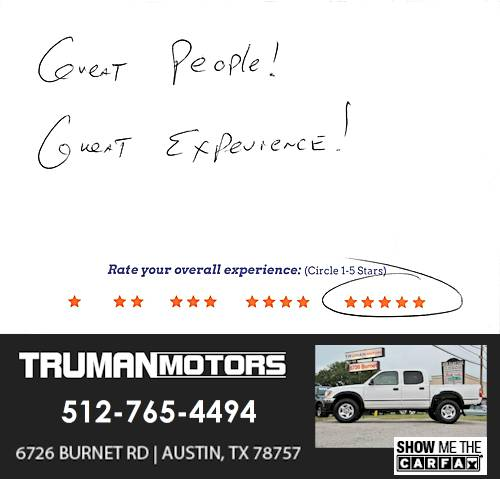 Truman Motors review by Michael P. in Austin, TX on September 10, 2016