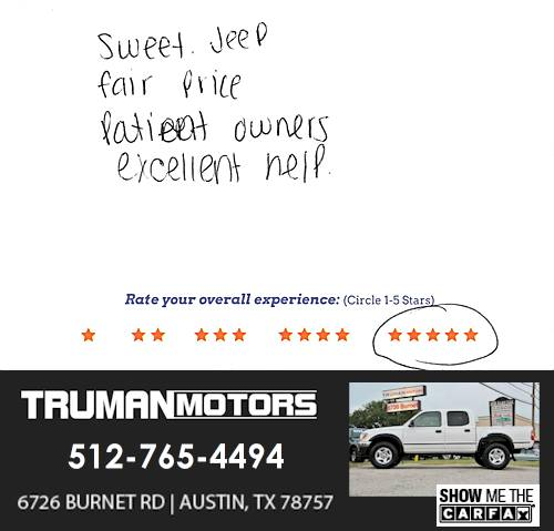 Truman Motors review by David I. in Austin, TX on September 10, 2016